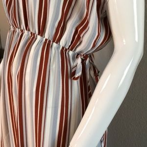 NWT Striped Ruffle Hem Midi Dress